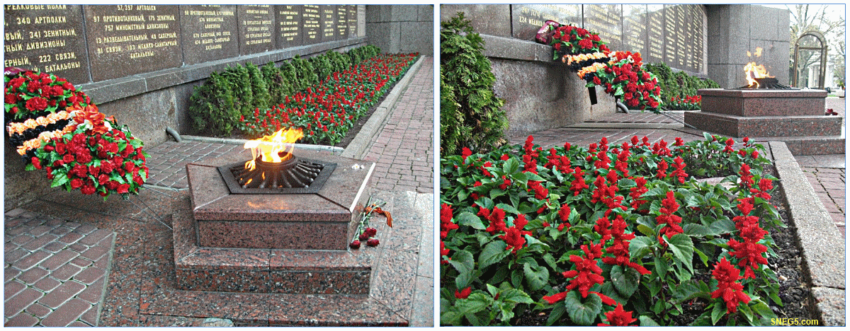 Вечный огонь у мемориала в честь героев второй обороны Севастополя