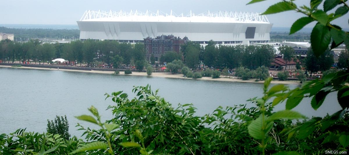 Вид со смотровой площадки у памятника Г. Я. Седову на стадион «Ростов-арена»