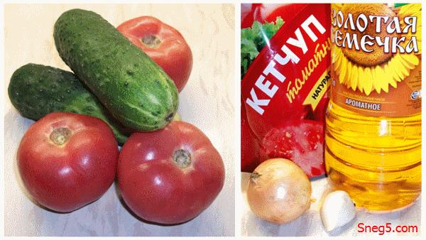 салат Ералаш_огурцы и томаты