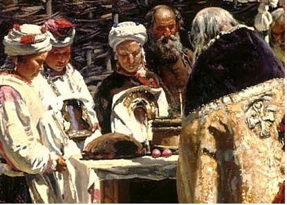 """фрагмент картины """"Молебен на Пасхе"""""""