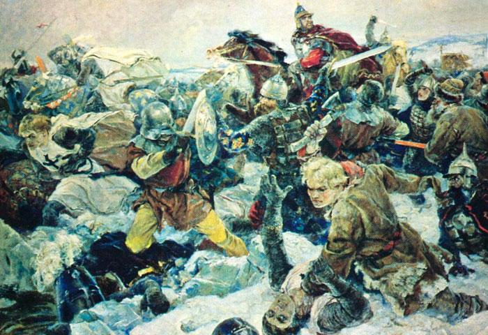 """Картина В. А. Серова """"Ледовое побоище"""", 1942"""