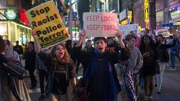 Акция протеста против полицейского насилия. Нью-Йорк