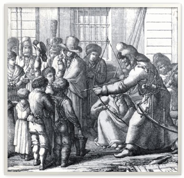 Башкиры в Берлине. Художник К. Л. Хюбейль. 1813 г.