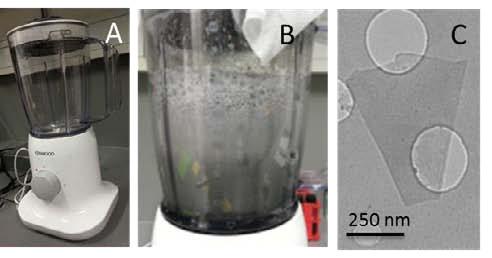 Блендер, процесс «взбивания» графена и одна из графеновых чешуек под микроскопом.