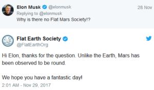 твит Илона Маска на тему плоского Марса
