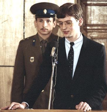 Матиас Руст выступает с последним словом в суде. Москва, 4 сентября 1987 год.