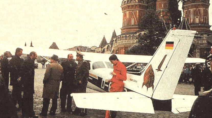Матиас Руст на Красной площади