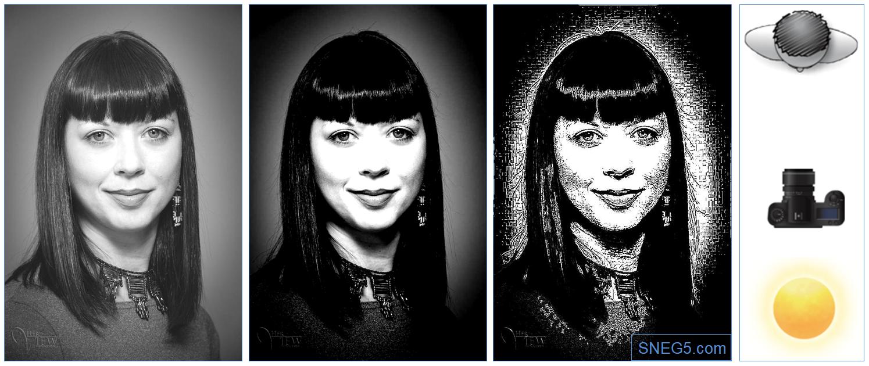 Первое фото — исходное. Для наглядности на втором фото контрастность увеличена на 50%. третье фото переведено в штриховое. На рисунке справа — схема освещения «Бабочка» (Butterfly Lighting)
