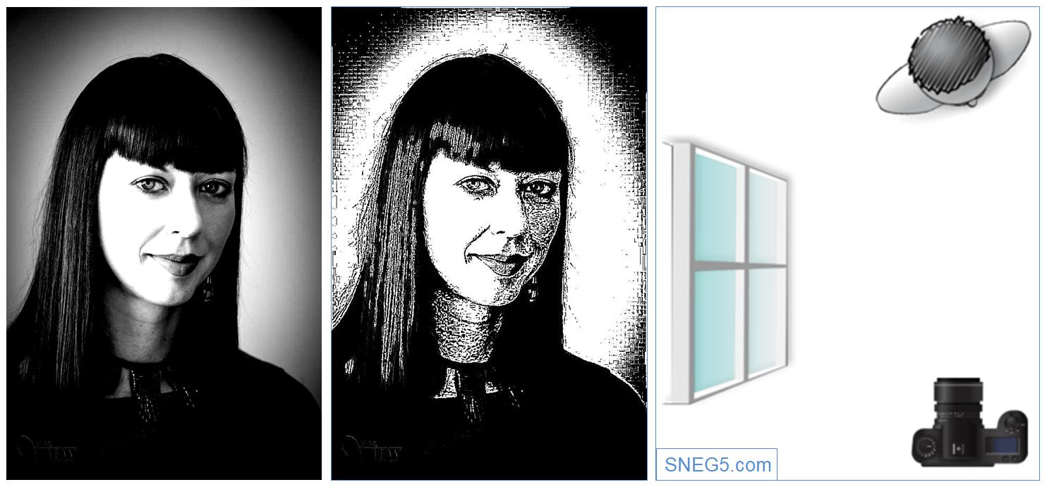 На первом фото контрастность увеличена на 50%. Второе фото переведено в штриховое. На рисунке справа — схема освещения «Световой полуоборот» (Broad Lighting)