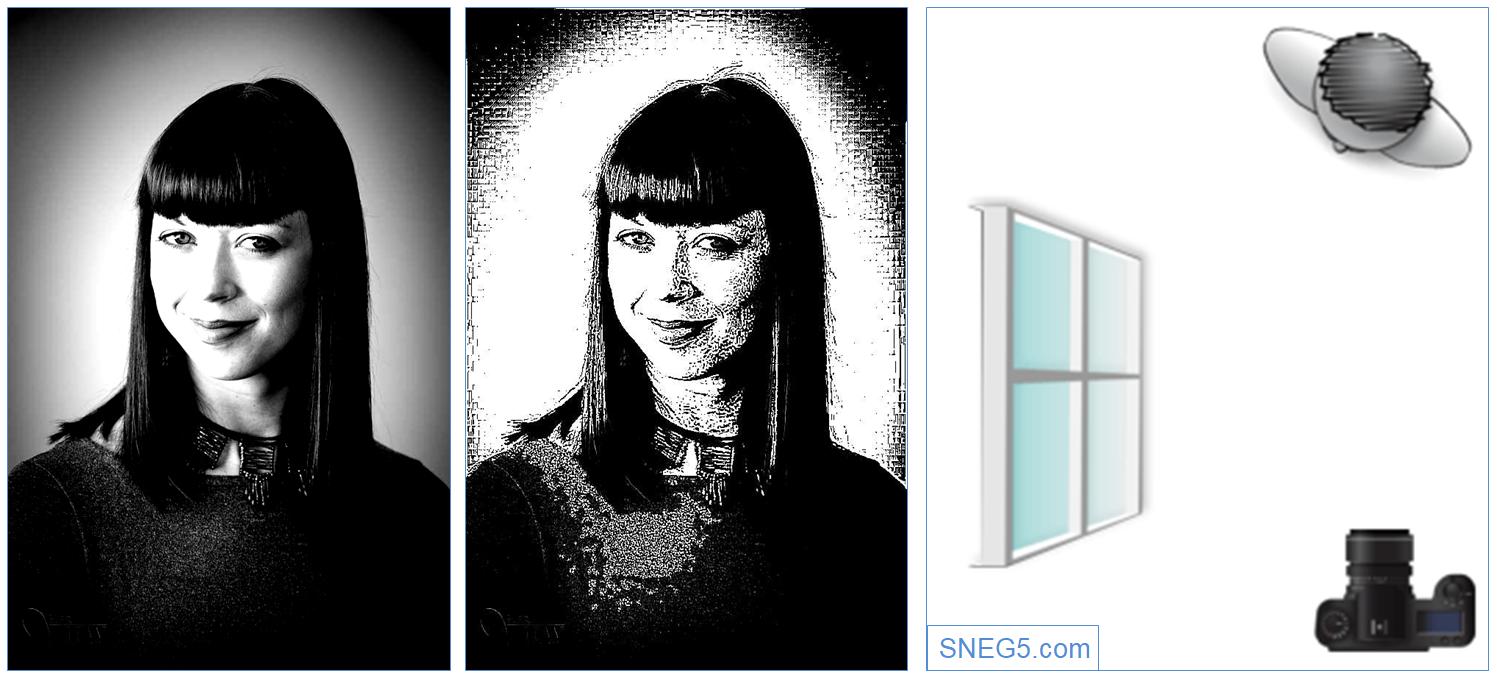 На первом фото контрастность увеличена на 50%. Второе фото переведено в штриховое. На рисун«Теневой полуоборот» (Short Lighting)