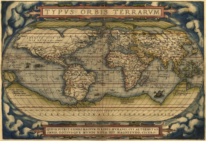 Атлас мира «Зрелище круга земного» Абрахама Ортелия, 1570 г.