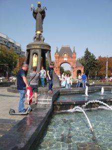 Фонтан у памятника Екатерине