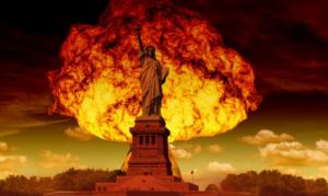 ядерный гриб над статуей свободы